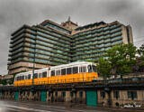 Budapest Tram Passing Ugly Modern Building